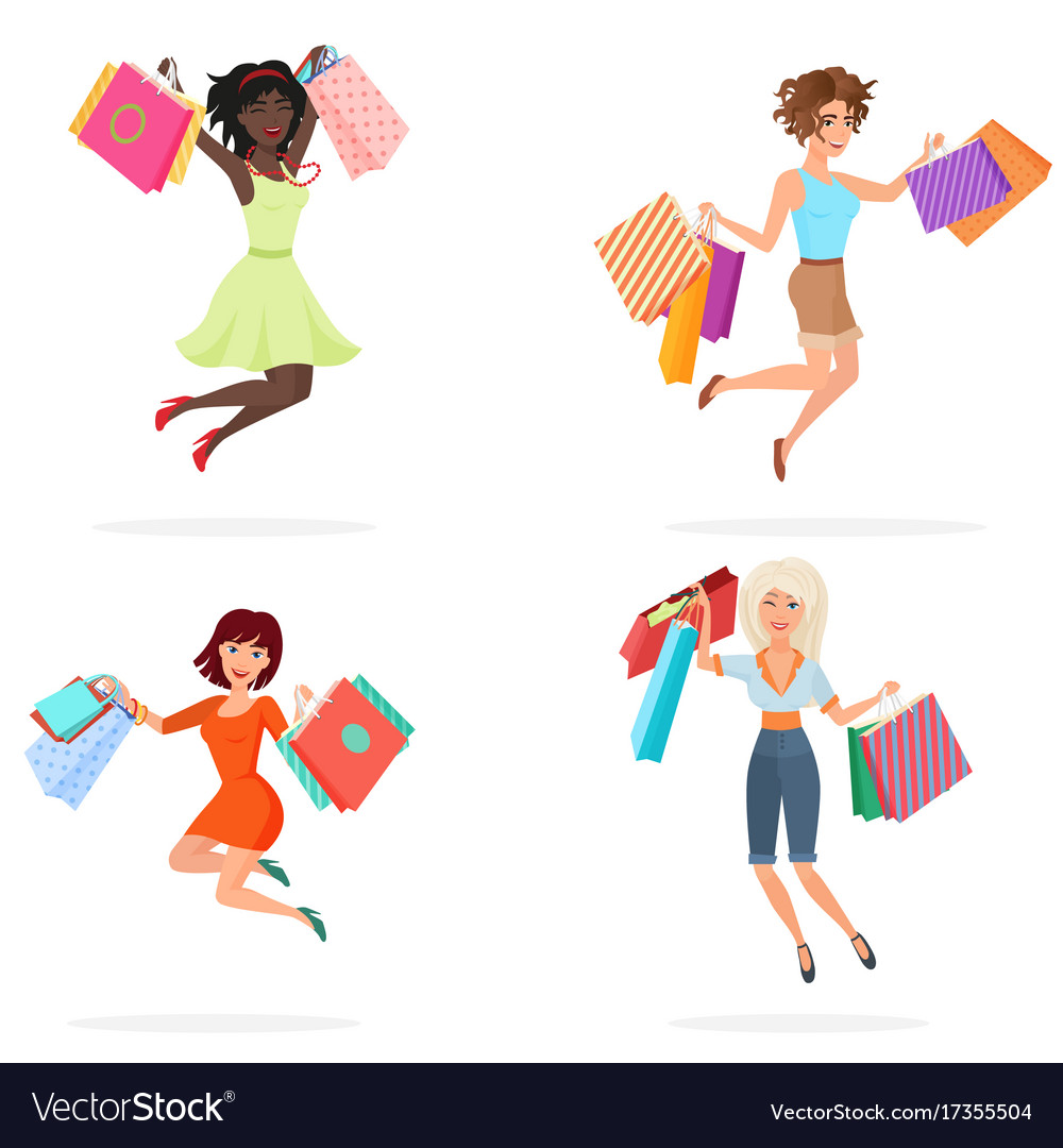 Happy women jump with shopping bags young girls