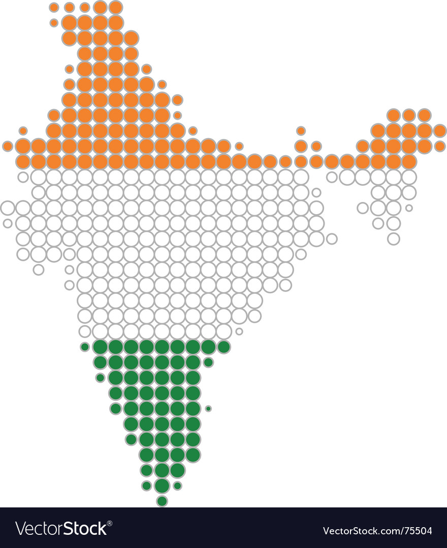 Map and flag of india vector image