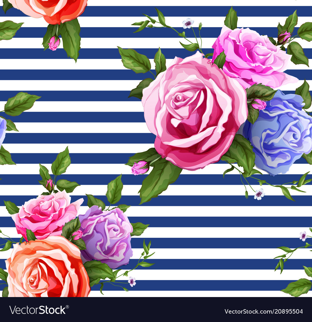 Rose flower floral seamless pattern