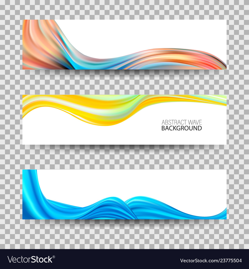 Set of banners with color wavesacrylic wave