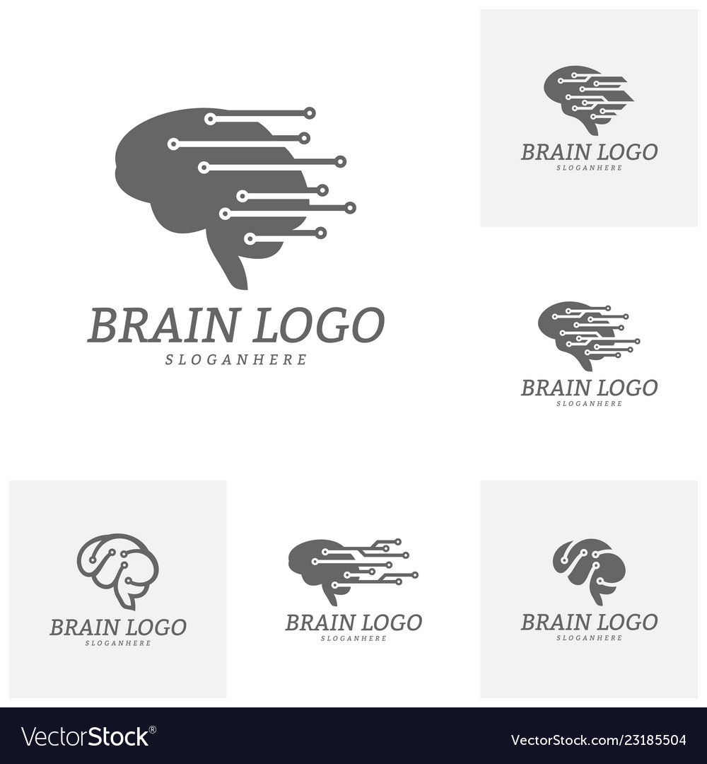 Set of brain tech logo template tech brain mind