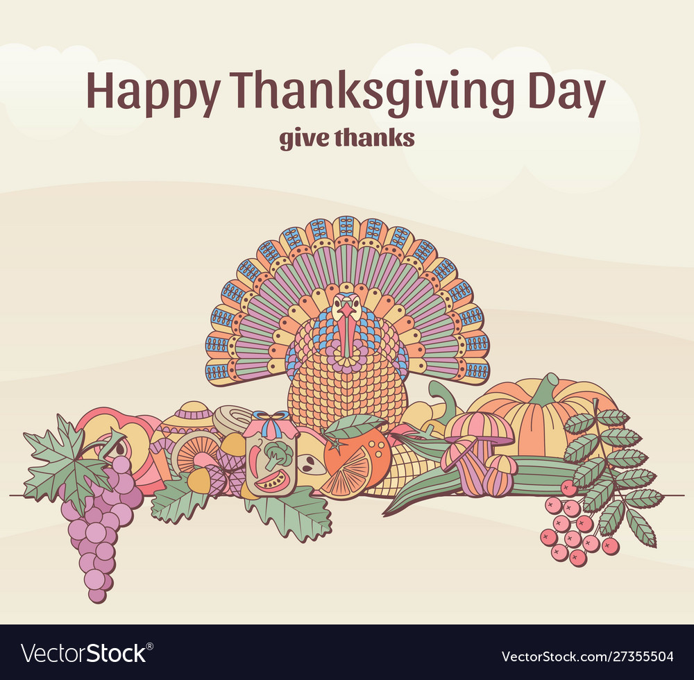 Thanksgiving day greeting card in pastel color