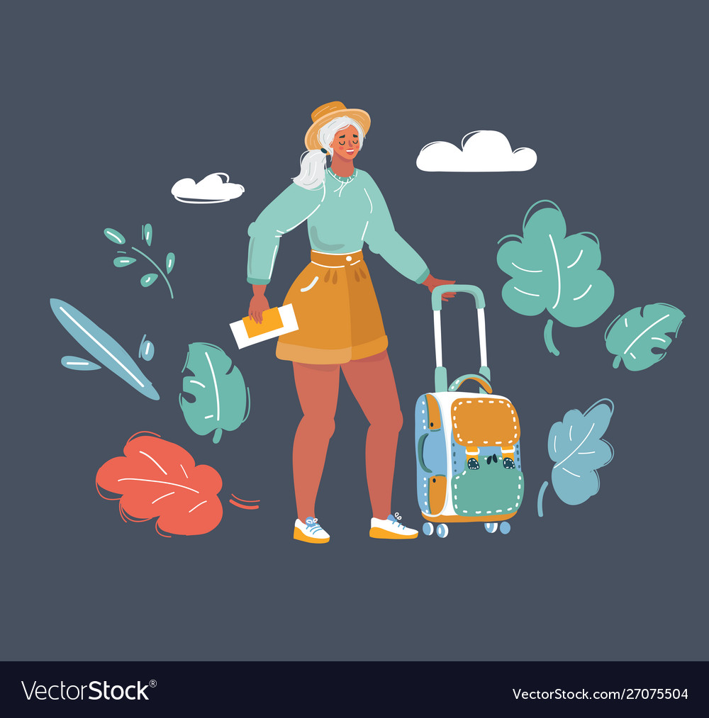 Traveling woman with luggage in dark