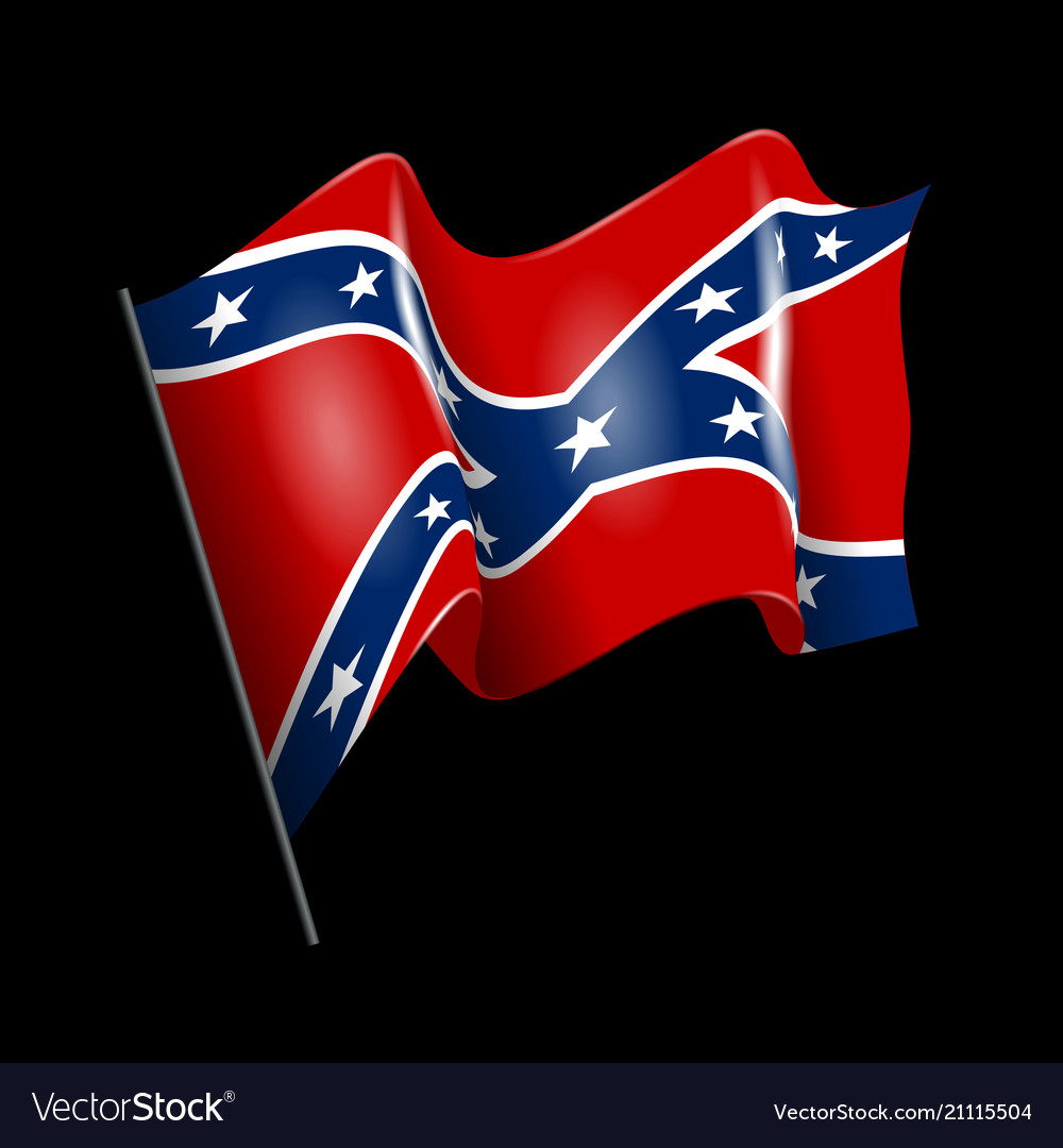 waving confederate american flag isolated on black