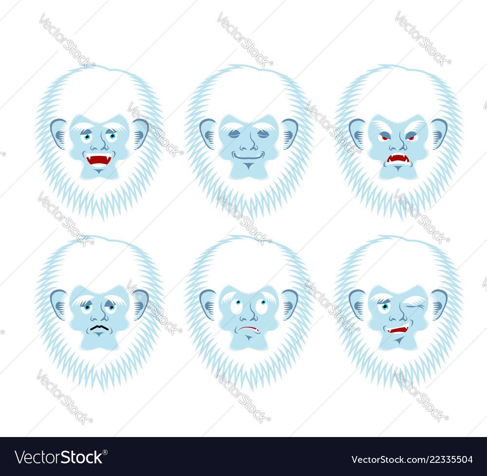 Yeti emoji set bigfoot sad and angry face