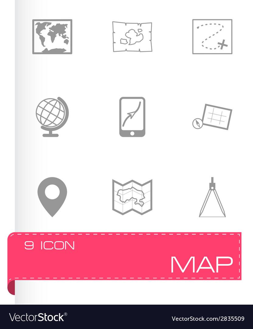 Black map icons set