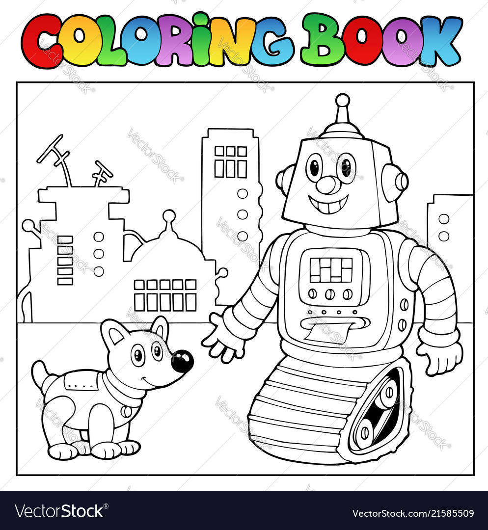 Coloring book robot theme 2 Royalty Free Vector Image