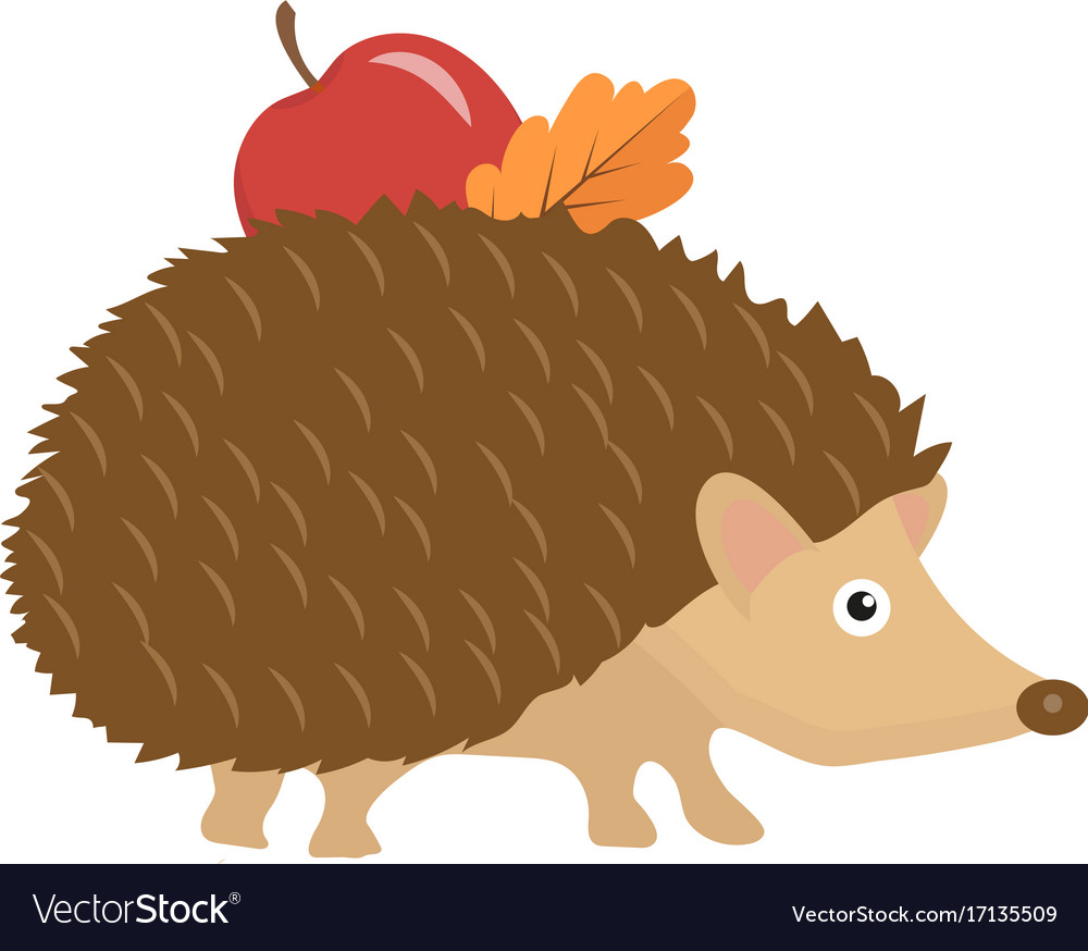 Cute hedgehog with apple and leaf on thorns icon