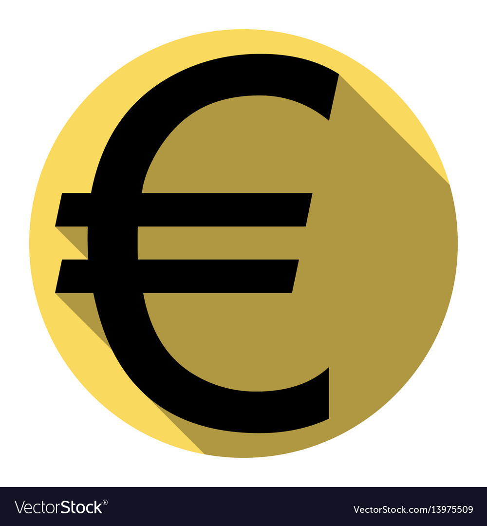 Euro sign flat black icon with flat
