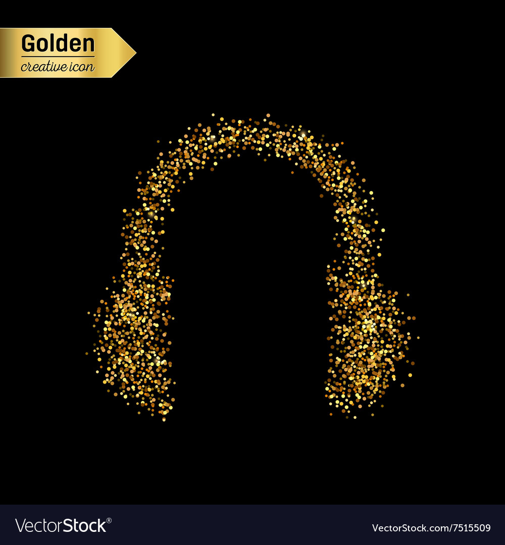 Gold glitter icon of headphone isolated on