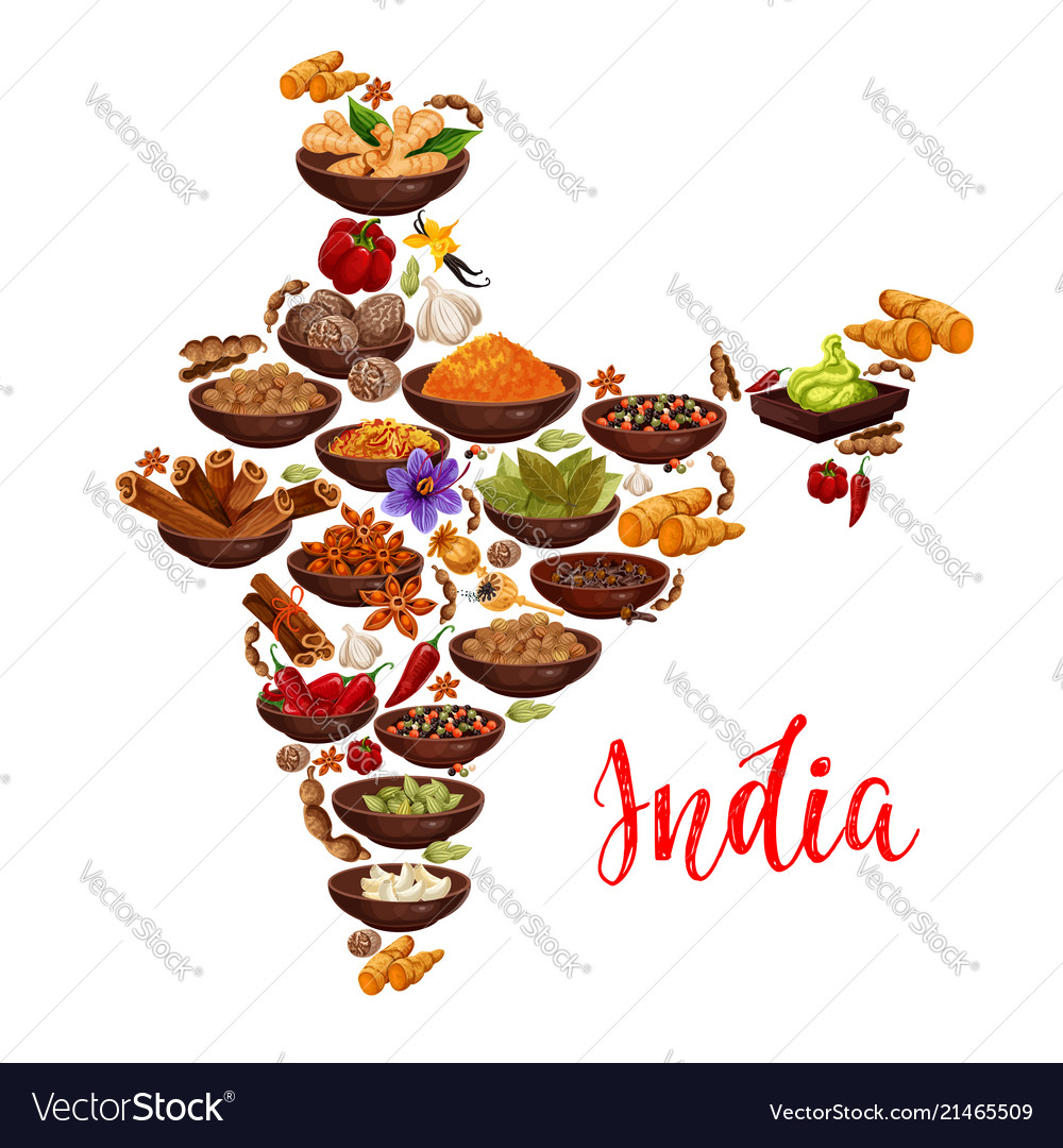 India Map Of Indian Spices Royalty Free Vector Image