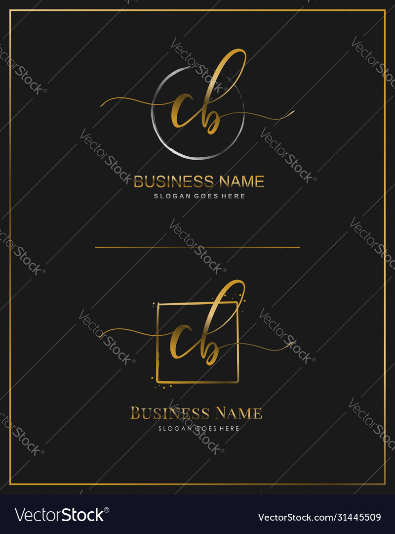Initial c b cb handwriting logo letter