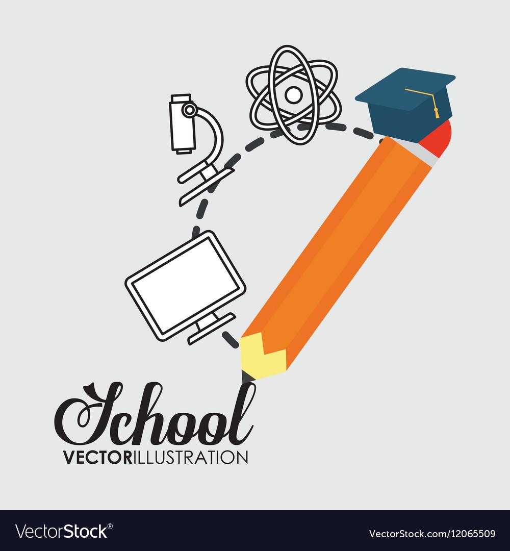School pencil graduation elements icon