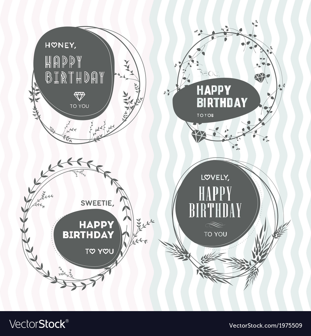 Set floral stamps birthday