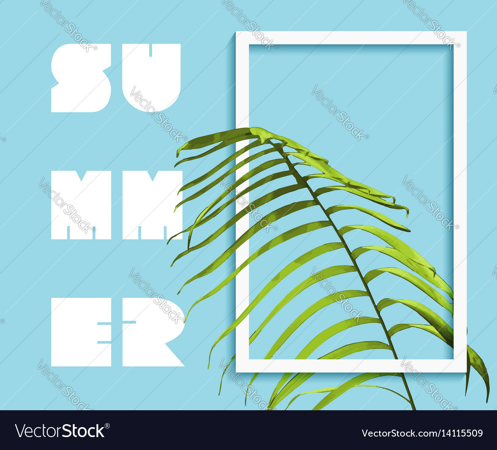 Summer paradise design of exotic jungle palm tree