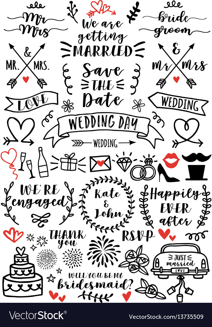 Wedding overlays set wedding overlays set vector image