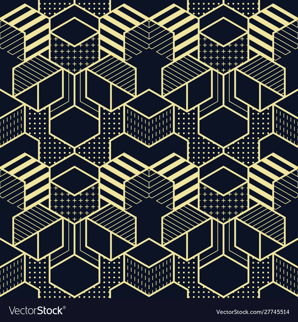 Abstract geometric shapes seamless cubes pattern