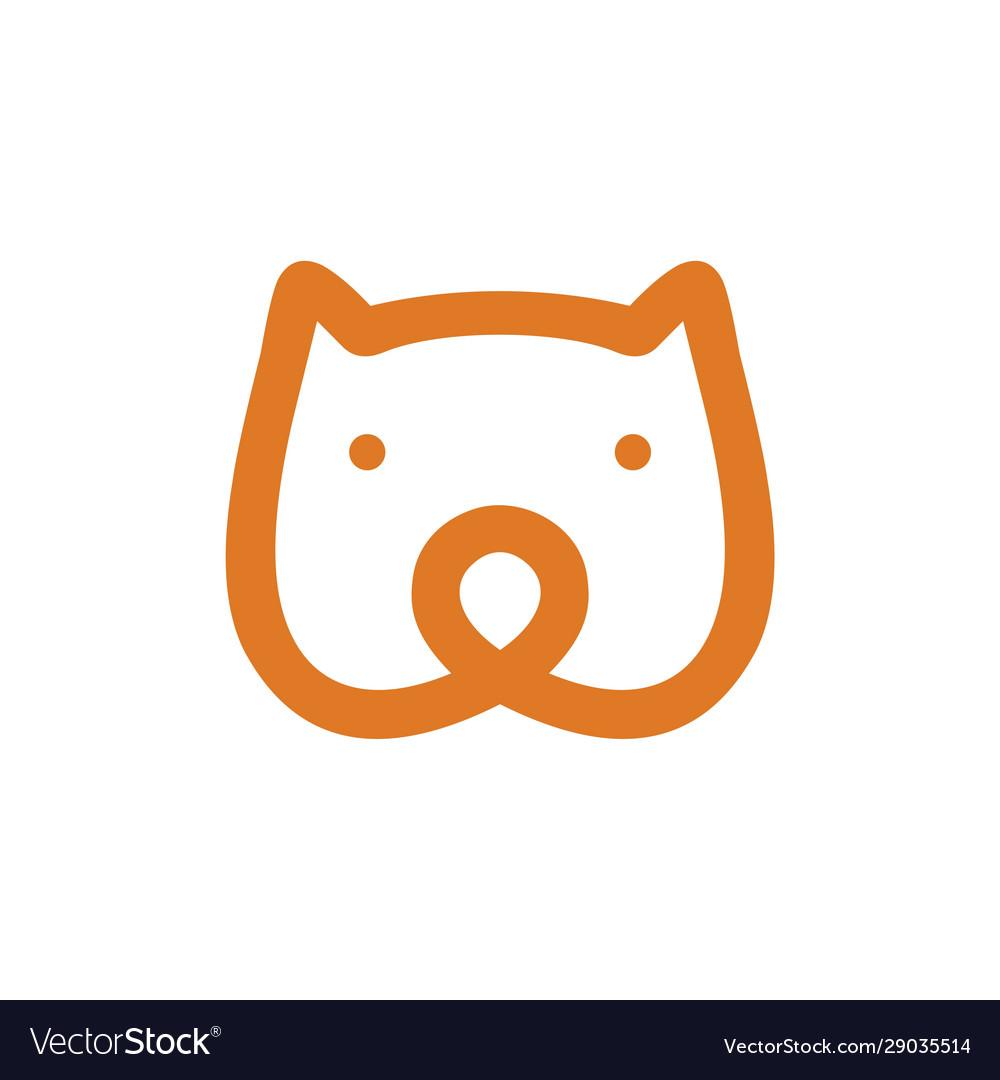 Bear head monoline icon