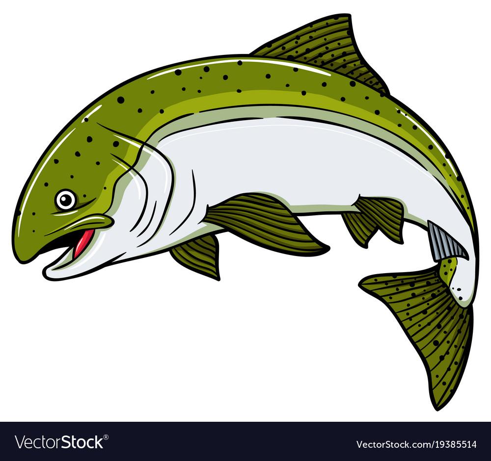 Cartoon salmon fish Royalty Free Vector Image - VectorStock
