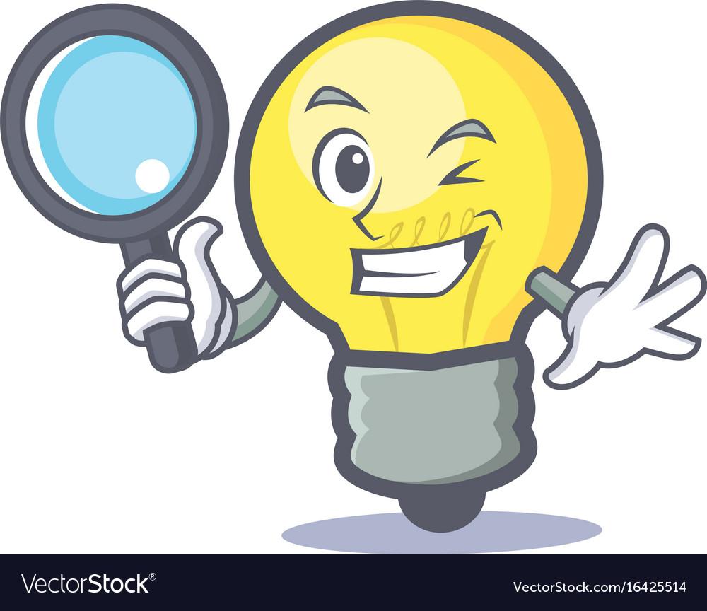Detective light bulb character cartoon