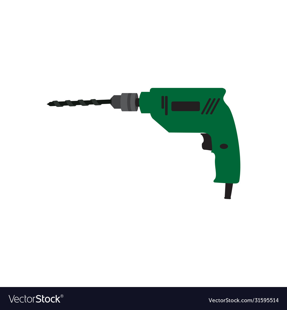 Electric Drill Graphic Design Template Isolated Vector Image