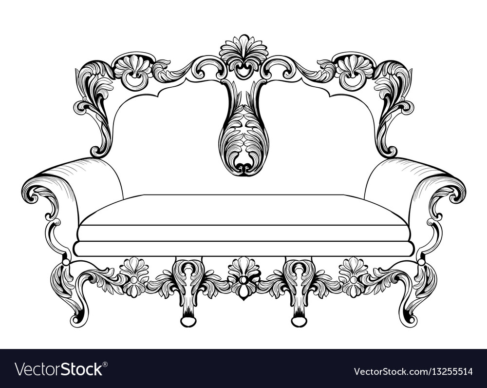 Exquisite fabulous imperial baroque couch engraved vector image