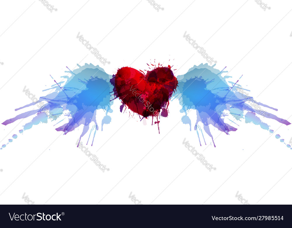 Heart with wings made colorful grunge splashes
