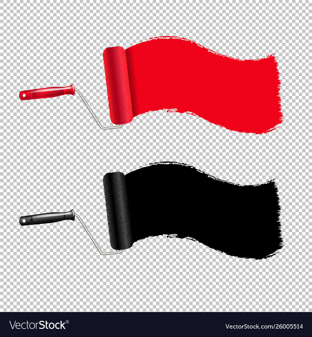Red and black paint roller and paint stroke
