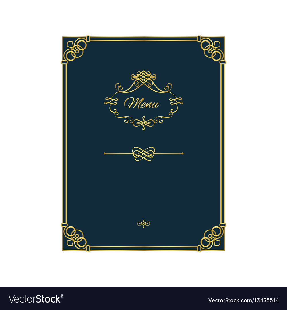 Vintage golden menu template on blue
