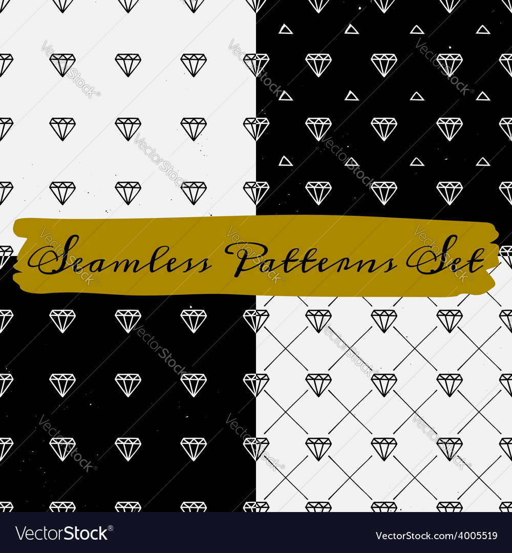Black and white abstract seamless patterns set