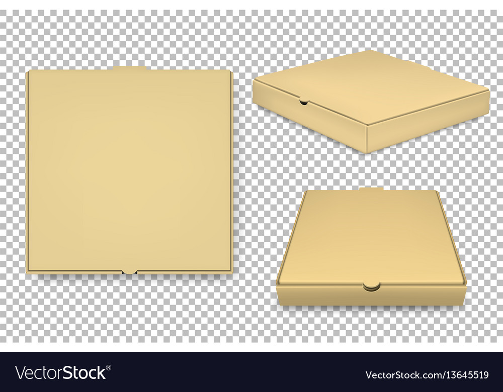 Blank Pizza Box Design Template Set Royalty Free Vector