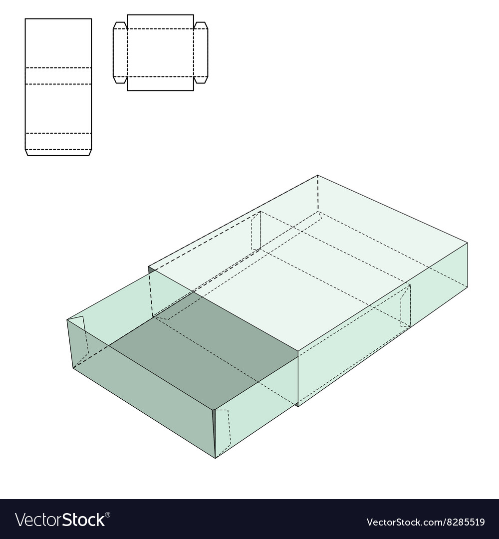 Box Line Template Vector Image