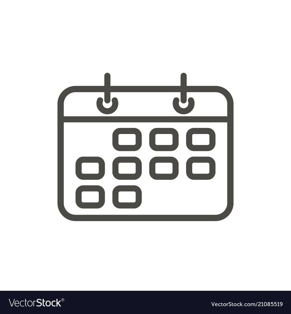 Calendar icon line reminder symboll