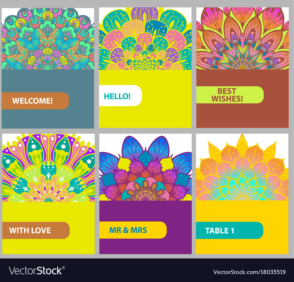 Collection of color cards with vintage decorative