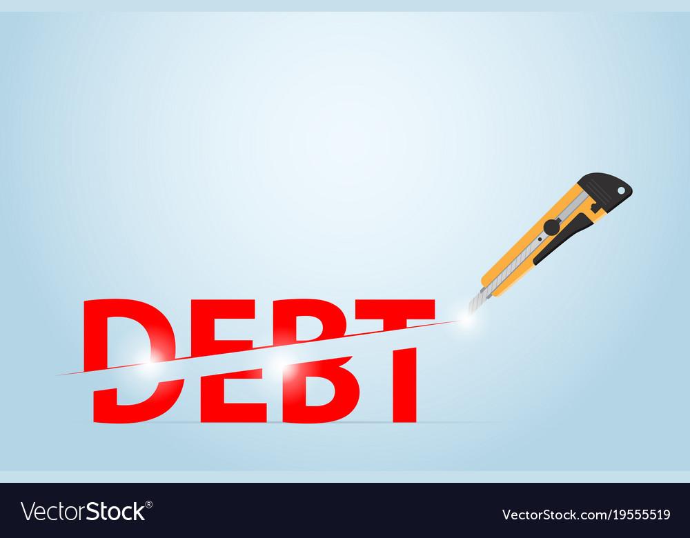 Cutter knife cutting debt word financial concept