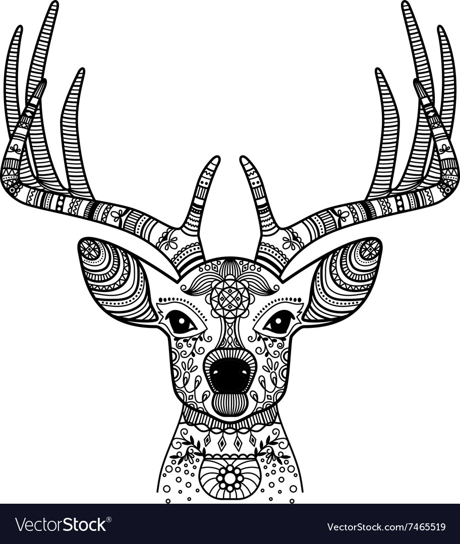 Deer head with floral ornament