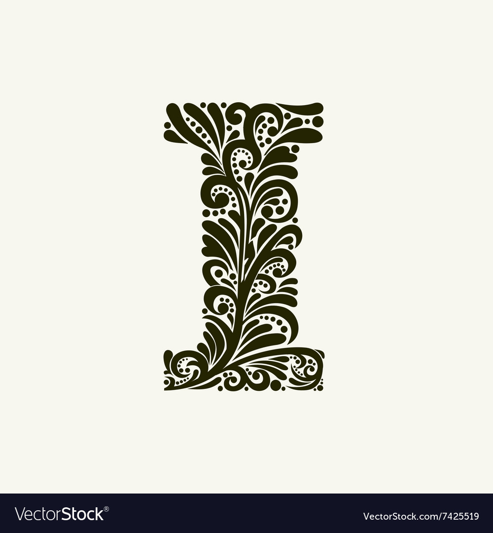 Elegant Capital Letter I In The Style Baroque Vector Image
