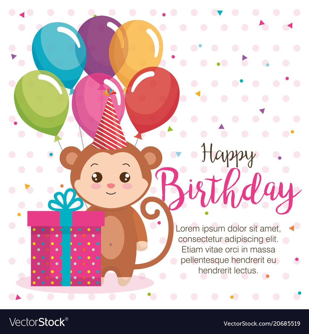Happy Birthday Card With Monkey Vector Image