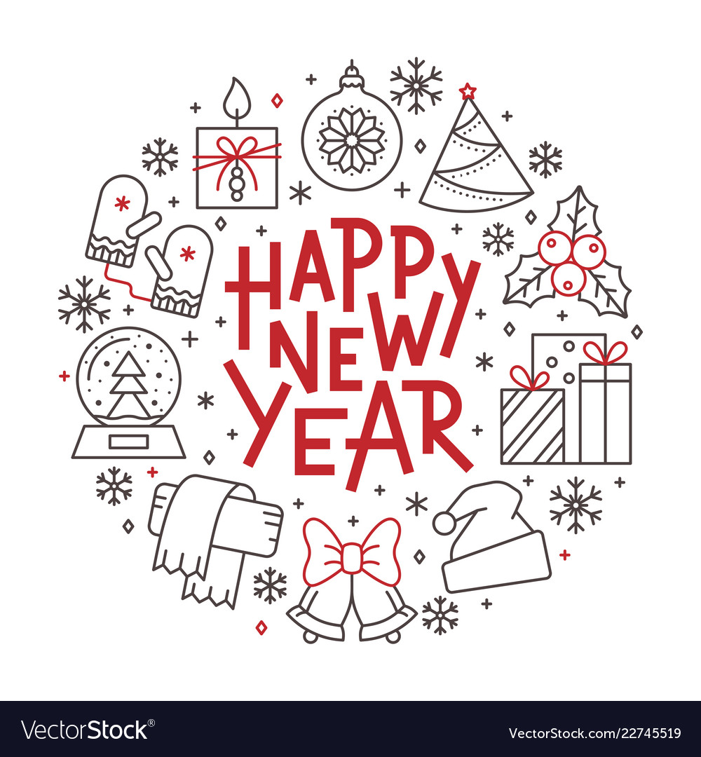 Happy new year line icon holiday lettering banner