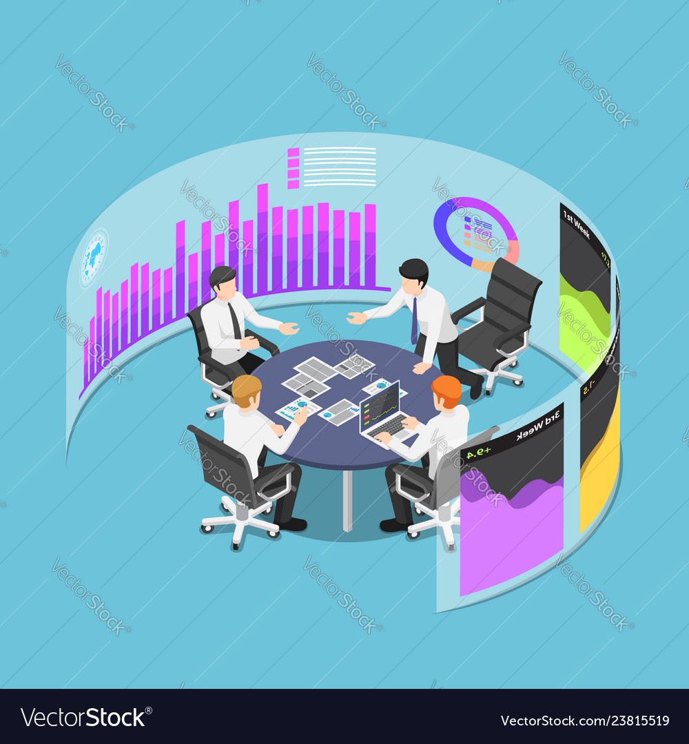 Isometric business team in conference event