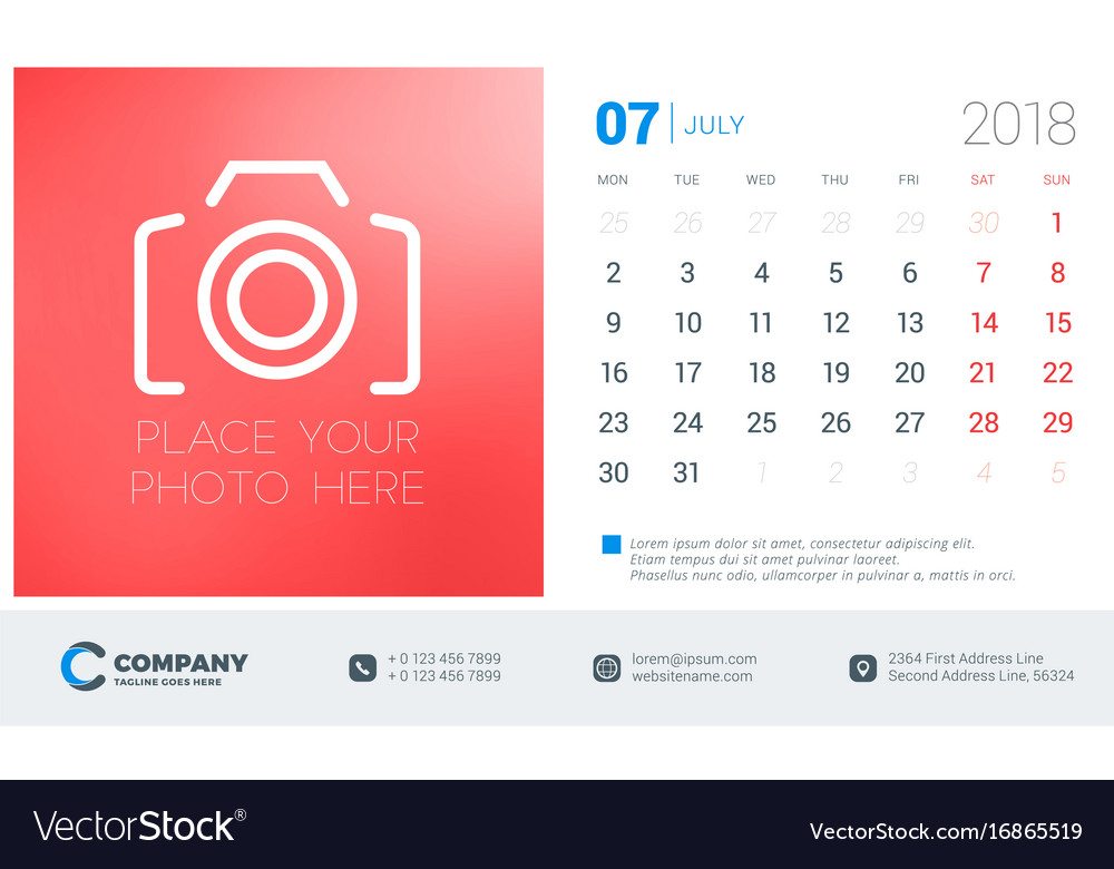 July 2018 Desk Calendar Design Template With Vector Image