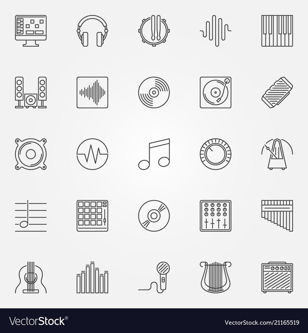 Music icons set - outline concept symbols