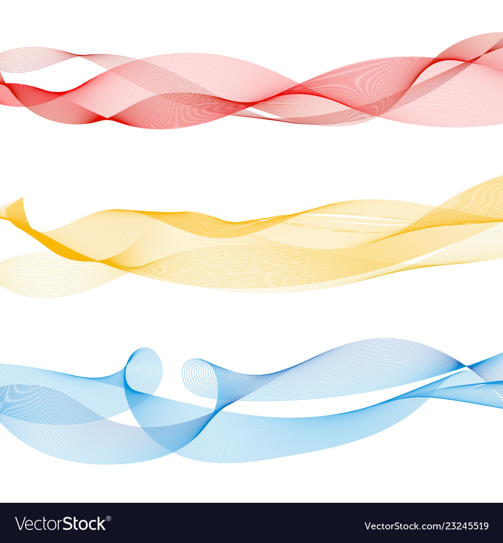 Set abstract colorful smooth wave lines red