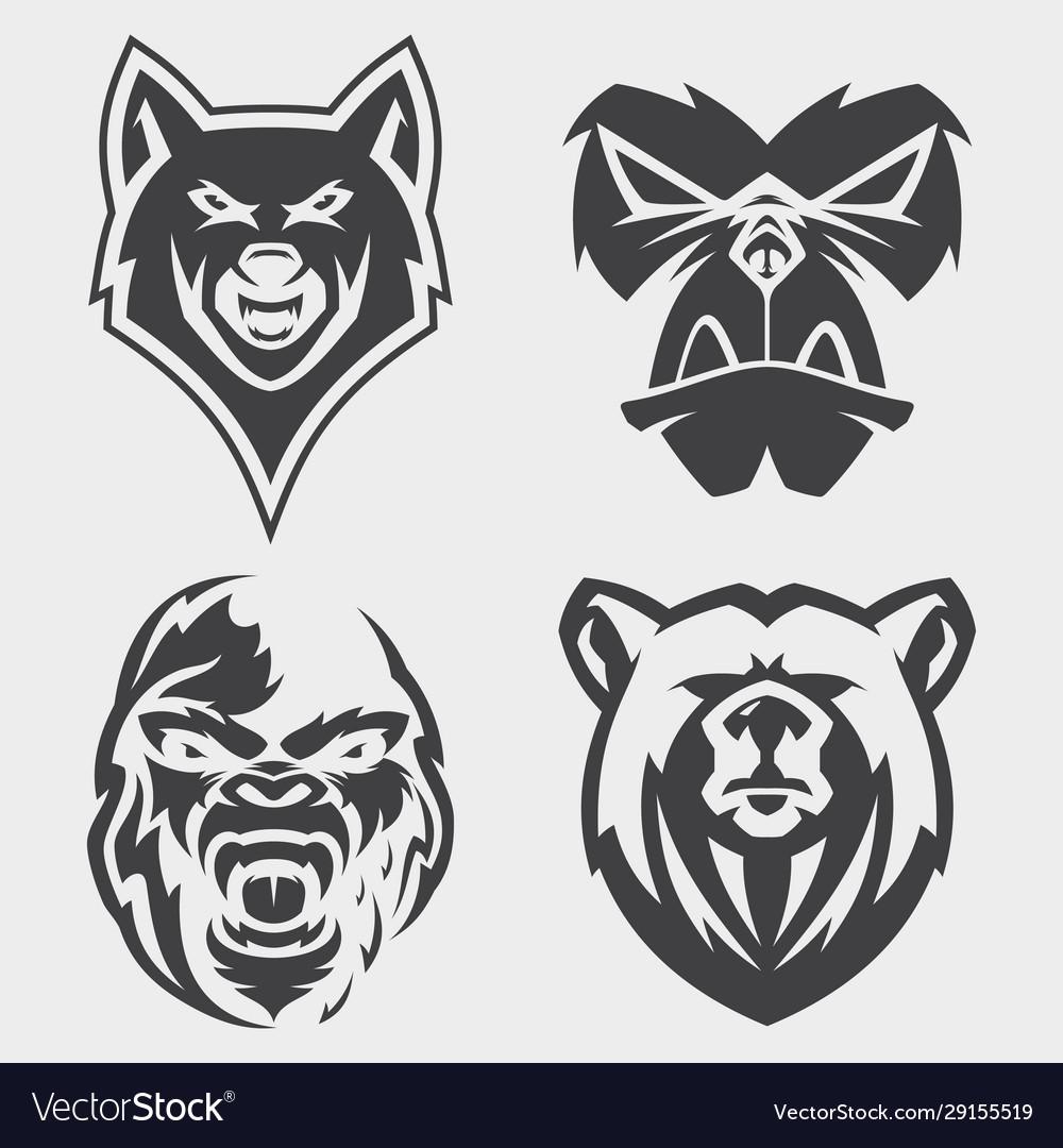 Set animal head icon symbol for element