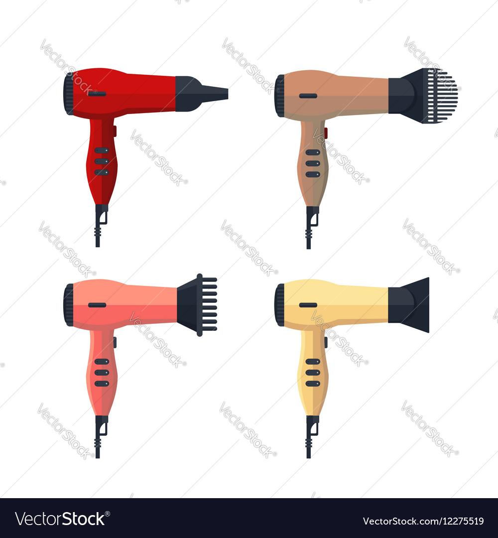 Set hairdryer icon logo flat isolated on white vector image