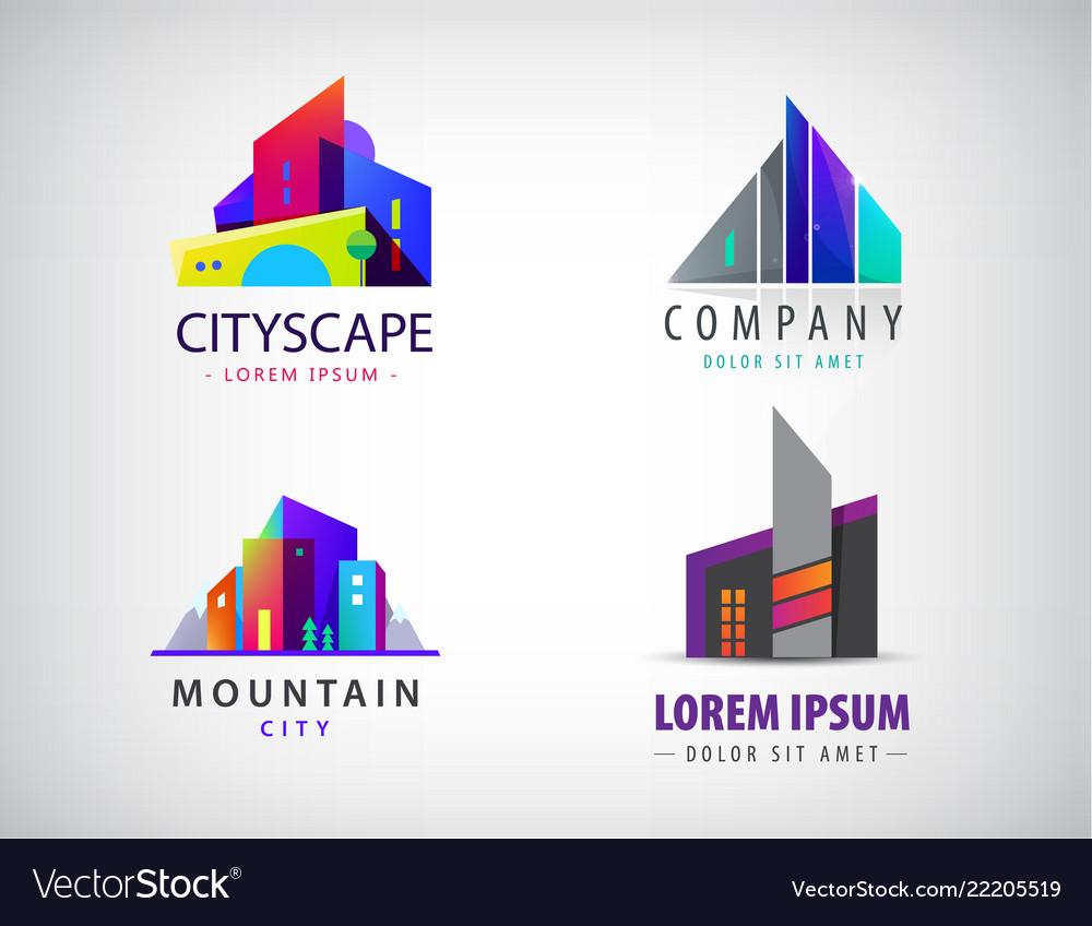 Set of modern city logos business uilding