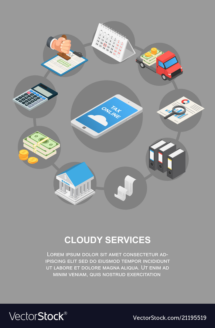 Tax online cloudy services banner vertical