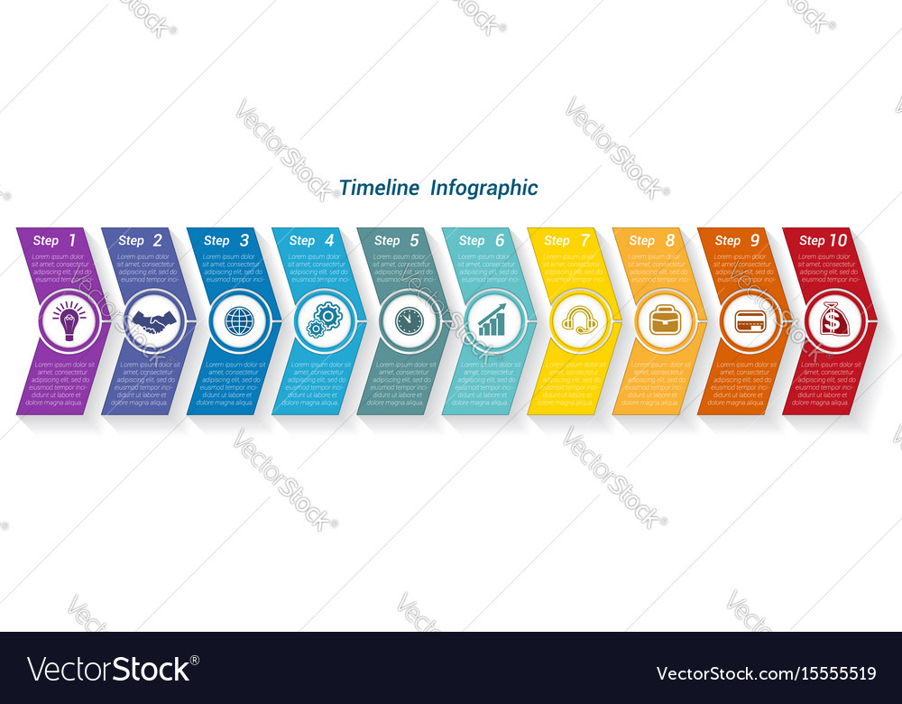 Template timeline infographic from colour arrows