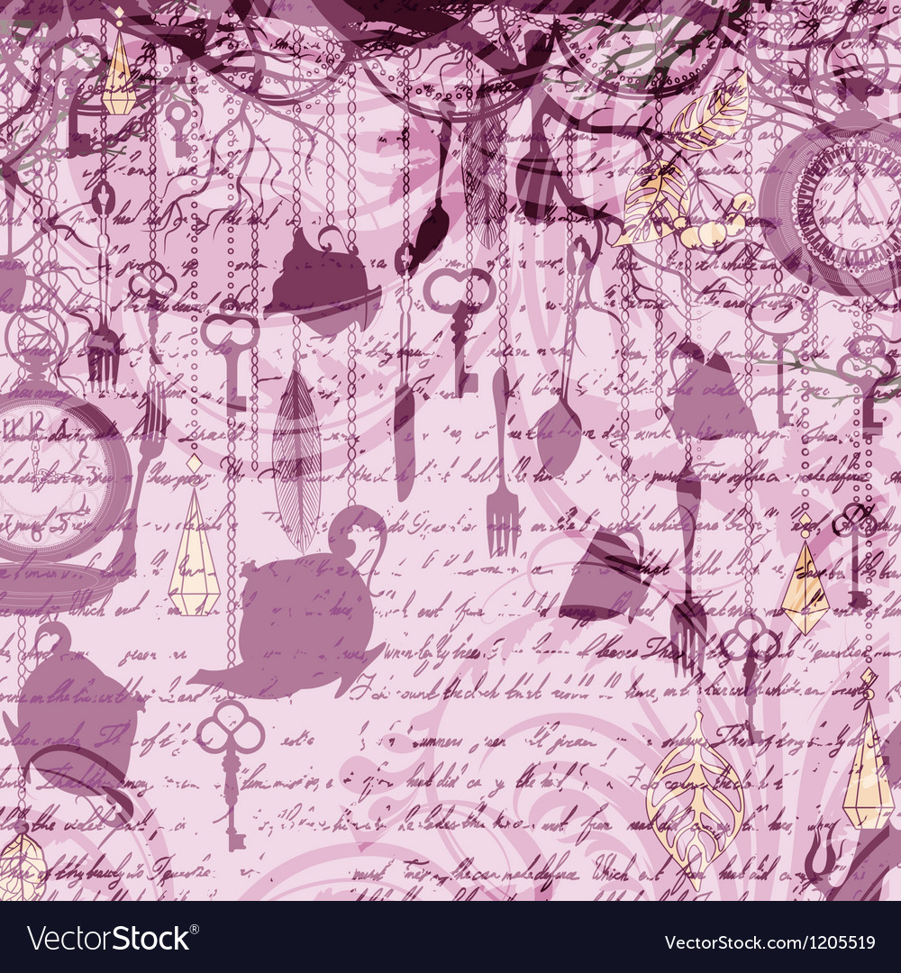 Vintage grungy card with tea cups and clocks vector image