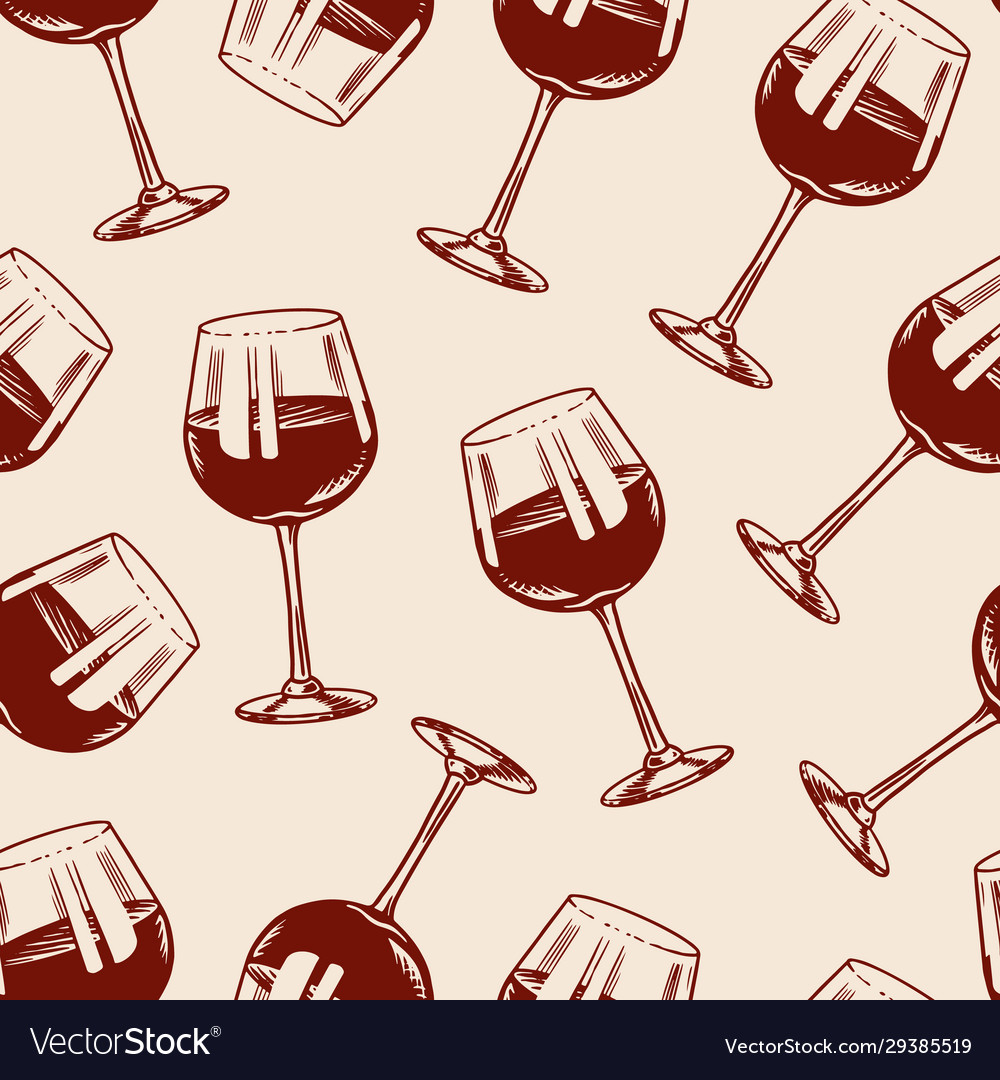 Wine seamless pattern alcoholic drink or
